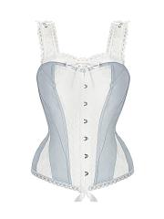 Plus Size 10 Steel Boned Bustier Lace Straps Corset Tops